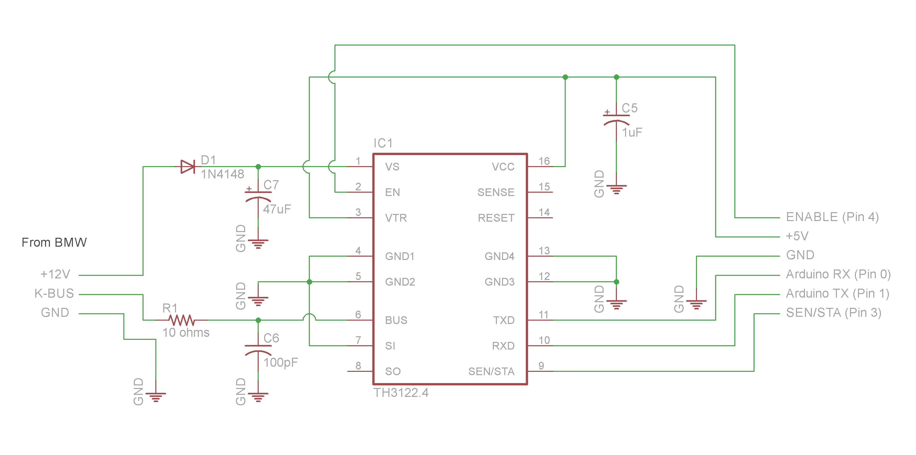 Schematic TH3122 To ARDUINO