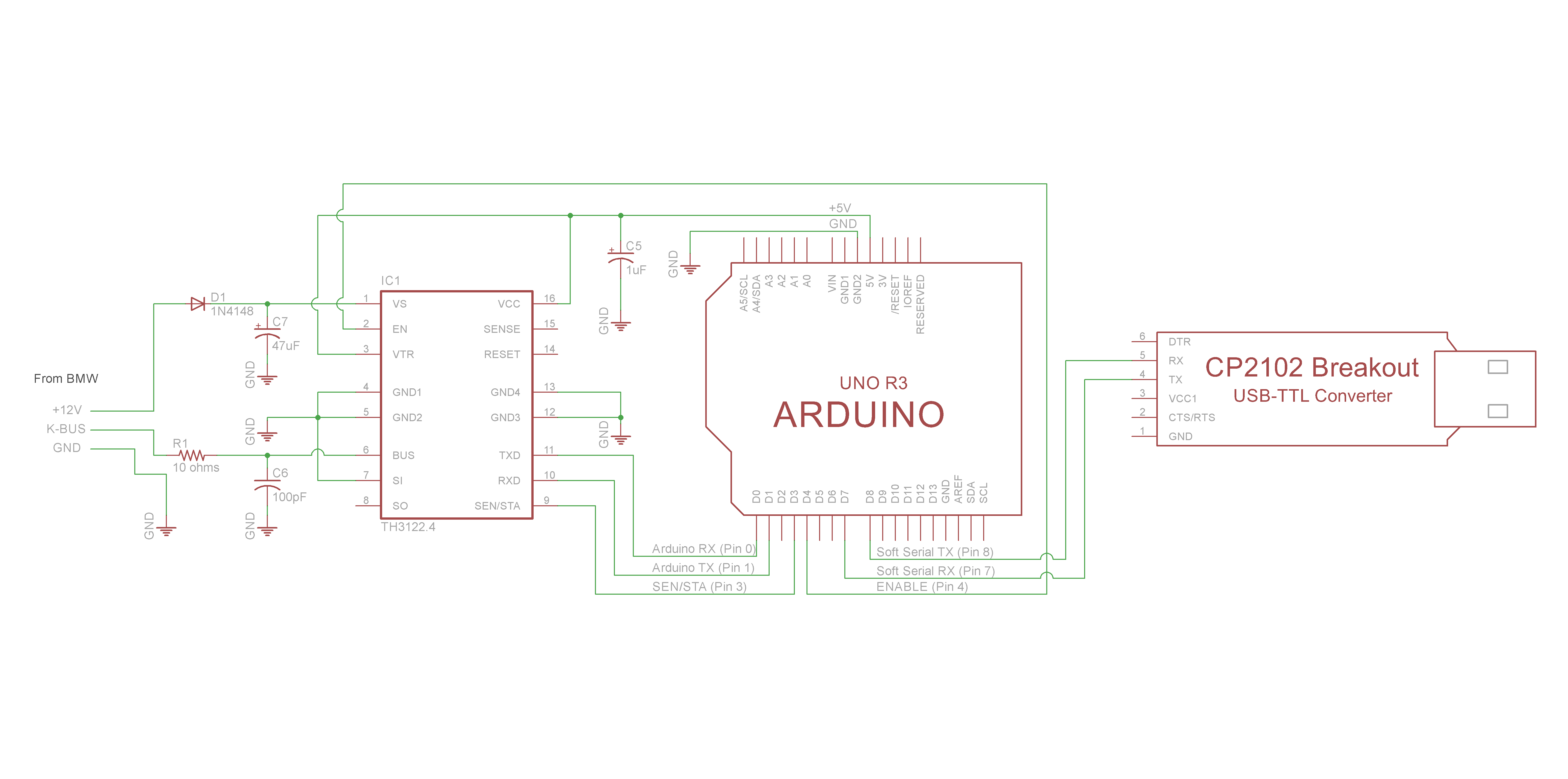 Schematic TH3122 To ARDUINO with Debug